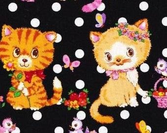 CAT Sister's with cute dots printed half yard