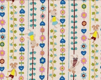 1 yard  Cute dog and Flower Japanese fabric