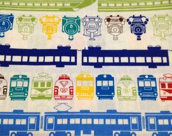 1 yard train printed fabric Japanese cotton
