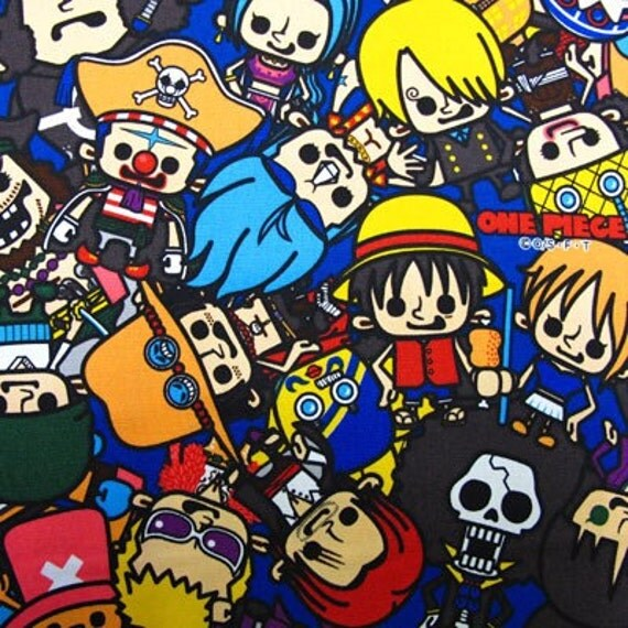 ONE PIECE  fabric Blue color FQ Japanese anime printed by kokka