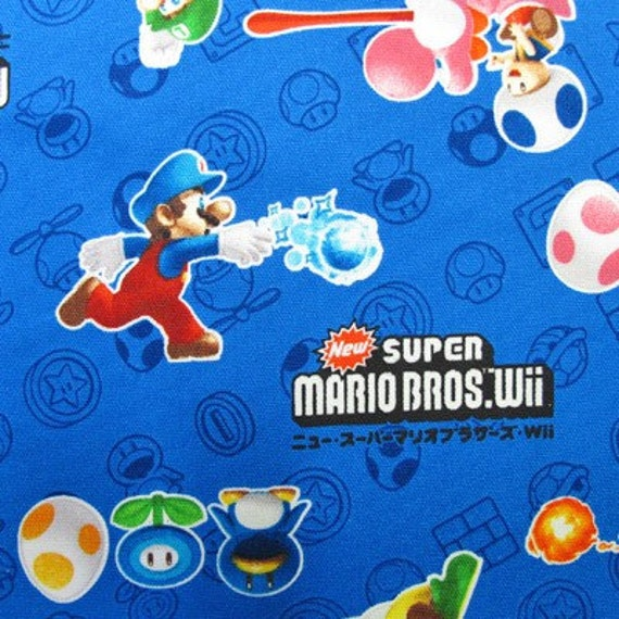 Items similar to SUPER Mario fabric Blue color FQ on Etsy