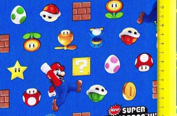 SUPER Mario fabric Blue color FQ fat quarter