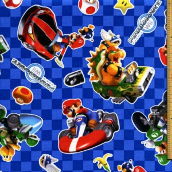 Super Mario Kart fabric blue color FQ