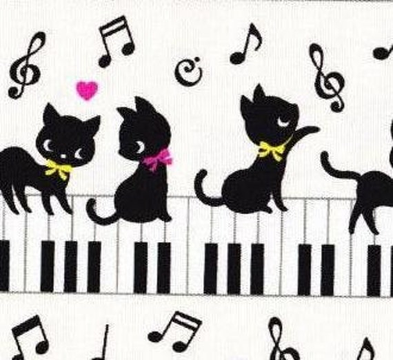 Japanese fabric Piano CAT printed One yard white color