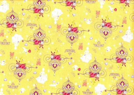 1 yard  Cinderella printed  Japanese fabric light yellow color