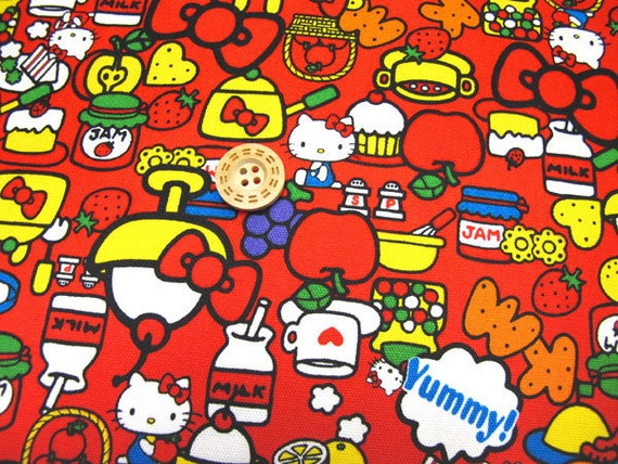 Hello kitty fabric Red colour Half yard  Japanese anime printed