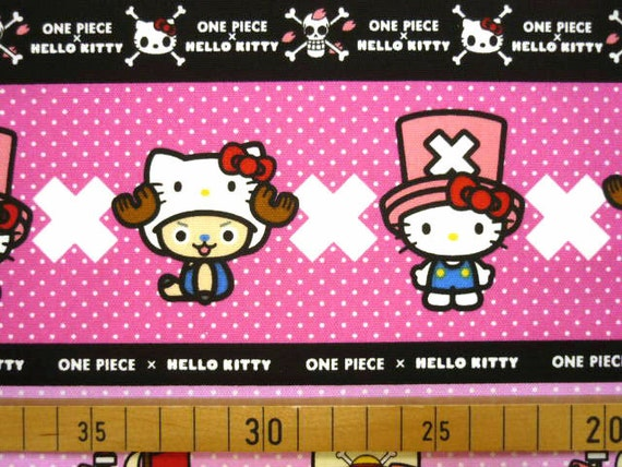 1 M Hello kitty X Once piece  fabric Pink color Japanese anime printed