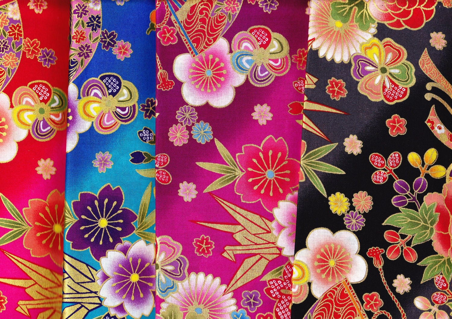 Japanese kimono cotton fabric 4 scraps flower butterfly etc
