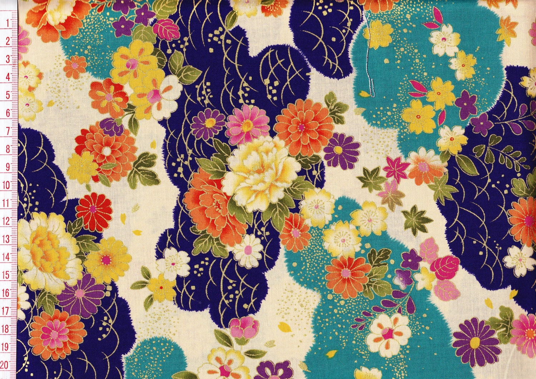 Japanese Kimono Design Fabric Half Yard Printed By Kokka
