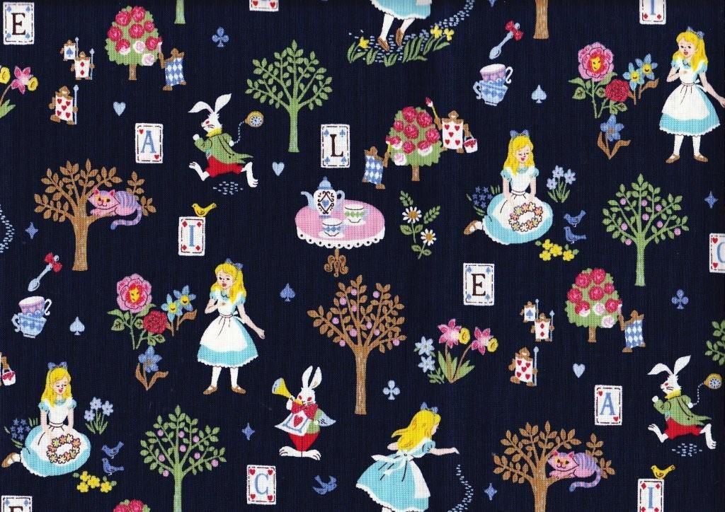 Half Yard Alice In Wonderland Fabric Navy Blue Color