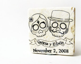 Day of the Dead wedding favors, 50 sugar skull tile magnets