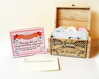 Wedding Guest Book Box, papel picado inspired, custom hand painted