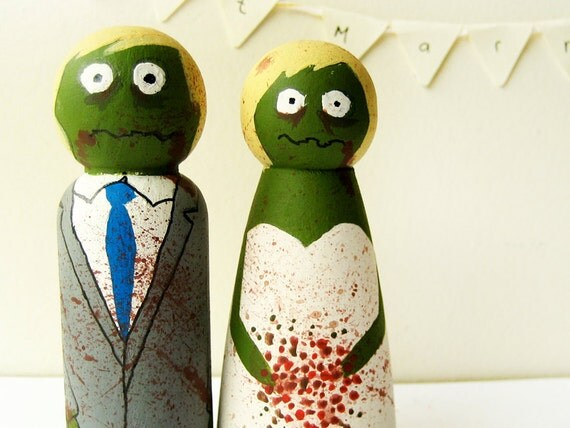 Zombie Cake toppers Halloween Wedding bride and groom