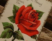 A Beautiful Vintage Valentine..For You, Honey..Circa 1960s...FREE DOMESTIC SHIPPING..