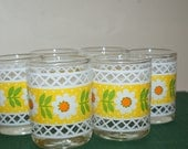 Crazy Daisies..Set of 6 Vintage Glass Votive Candle Holders..Sweet...Treasury Item..