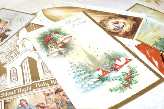 Memories of Gold and Bronze..Vintage Christmas Card Collection..20 Beautiful Cards..