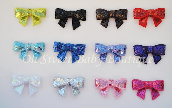 Sequin Bow Applique Choose 10