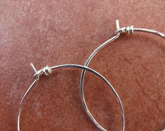 Hoops Medium Sterling Silver Classic Hammered Hoop Earrings Plain Hoops Hand Shaped Wire Hoops Thin Dainty Light