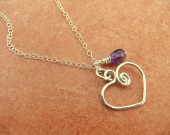 Tiny Heart Charm Necklace Sterling Silver Dark Purple Amethyst Stone Charm Romance Love Girly Lovely Cable Chain