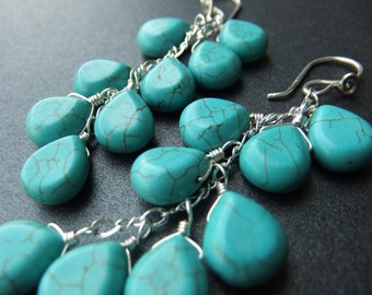 Blue Turquoise Waterfall Cluster Dangle Wire Wrapped Earrings in Sterling Silver on French Ear Wires