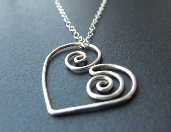 Steampunk Heart Spiral Hand Shaped Curved Necklace in Sterling Silver 14K Gold Filled Mechanical Gear Inspired Look Cable Chain