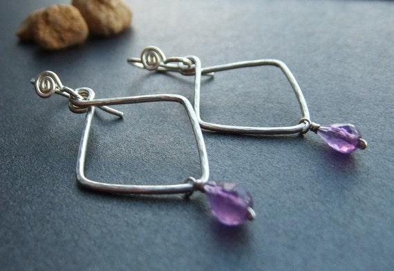 Sterling Diamond Hand Shaped Earrings Dark Purple Amethyst Charm Drop Small Simple Elegant Unique Wire Wrapped