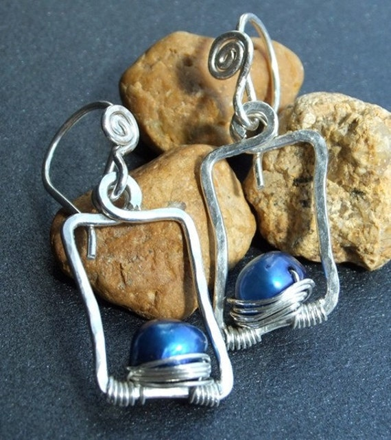 Modern Stylized Small Rectangle Sterling Silver Earrings Royal Blue Pearl Wire Wrapped Hand Shaped Fun Funky Minimalist French Ear Wire