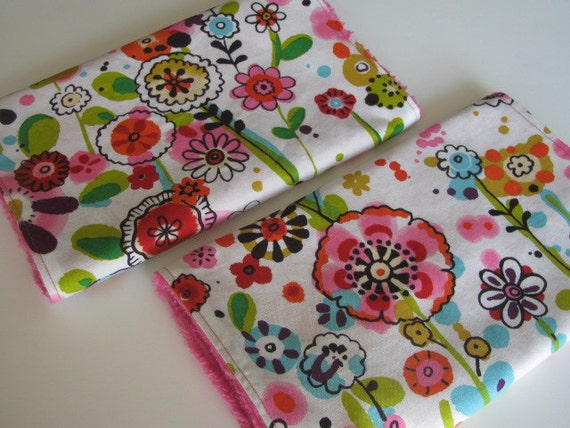 Baby Burp Cloths, Larkspur Meadow and Hot Pink Chenille