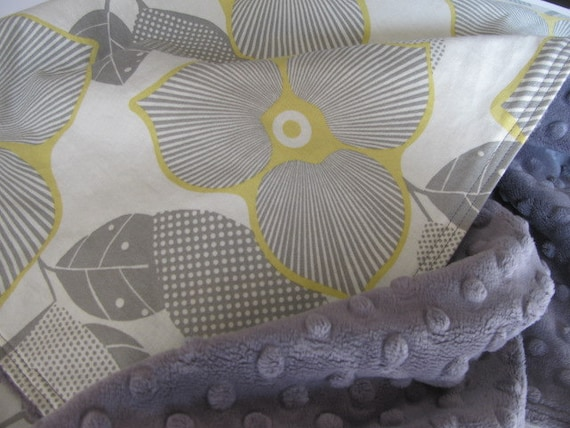 Minky Baby Blanket, Amy Butler Optic Blossom, Grey, Yellow, Modern Floral, Baby Girl Blanket, Flowers