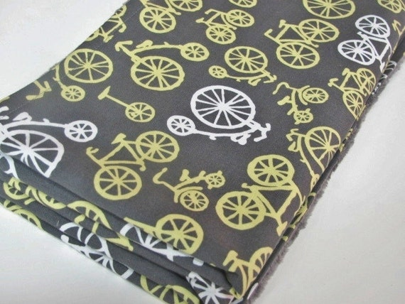Grey  and Yellow Baby Blanket, Michael Miller Bicycles, with Grey Minky Dot
