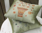"ORIGINAL HANDMADE Decorative Sage Green Silk Pillow with Painted Ornament and Embroidery 8.5x9"" holiday gift under 50"