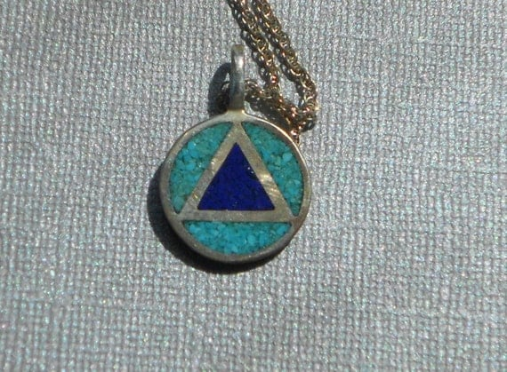 Sterling Silver and Turquoise Triangle Pendant with Chain Red Horse