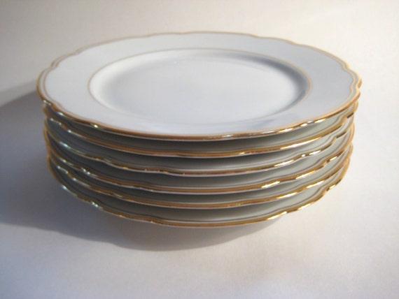 Set of Six Vintage White and Gold Salad or Dessert Plates -  Kronester