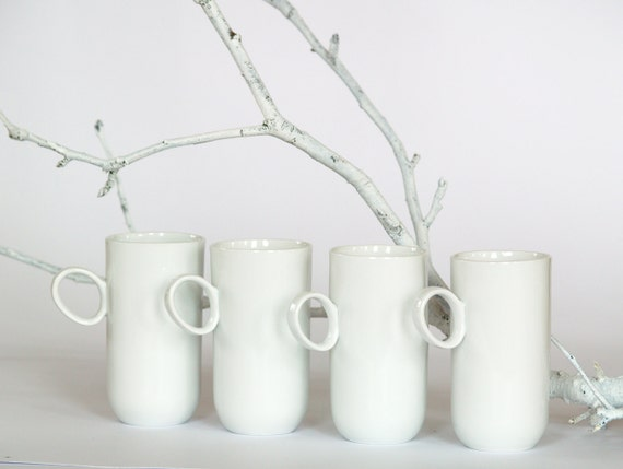 Elegant porcelain cups set - four modern white ceramic coffee or tea cups by Endesign.