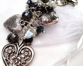 Love Me Keepsake Vintage Heart & Crystal Bag Charm