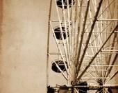 Summer Boardwalk Ferris wheel Carnival Amusement park in sepia tone - 11 x 14 art print by Dawn Smith