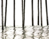 Boardwalk Black and White Water Under the Pier Minimalist - 16 x 20 art print by Dawn Smith