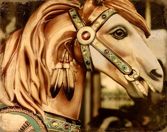 Merry Go Round Carousel Horse - 11 x14 art print by Dawn Smith