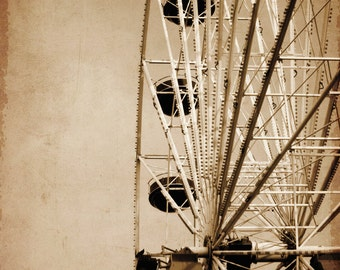 Summer Boardwalk Ferris wheel Carnival Amusement park in sepia tone - 11 x 14 art print by Dawn Smith