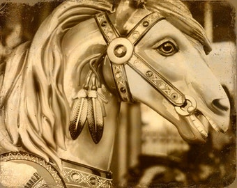 Merry Go Round Carousel Horse - 8 x10 art print by Dawn Smith