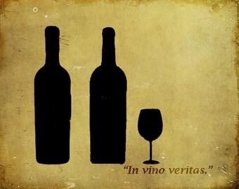 Wine bottles wine glass kitchen bar - 8 x 10 art print by Dawn Smith