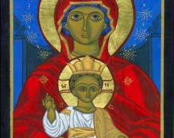 icon of Mother of God Enthroned Print - Catholic Religious Art