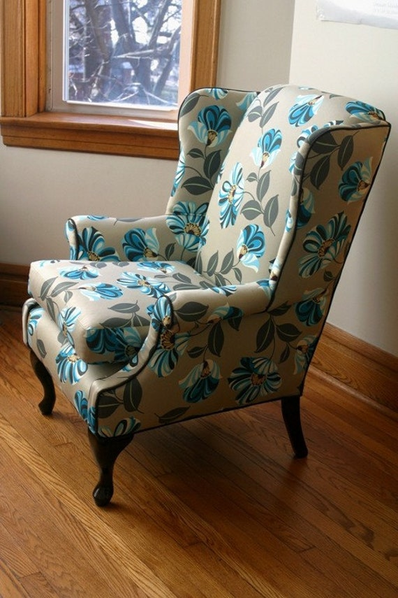 Classic wingback recovered in Amy Butler print