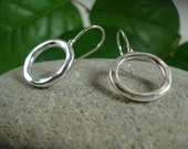 Gold and sterling circle earrings