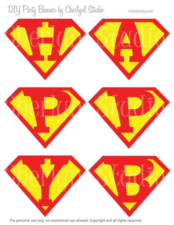 Printable Superman Happy Birthday Banner By Stickerlicioussg