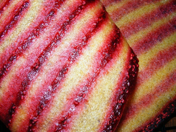 Pineapple fruit leather with Raspberry pin stripes