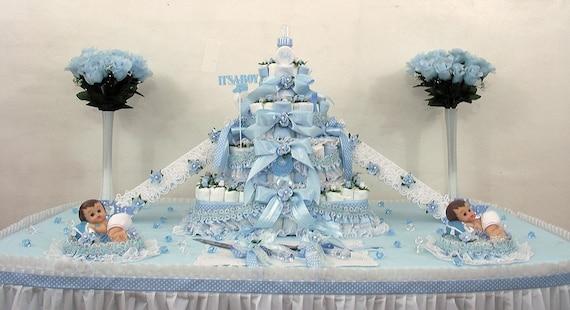 4-Tier Beautiful Blue Platinum Half Sheet Diaper Cake w/Cake stairs