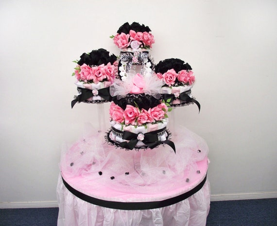 Paris Baby Shower Centerpiece / Girls PINK U0026 BLACK Diaper