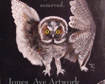 Acrylic painting, original wildlife, Owl in Flight, art on plywood, nature, art for sale