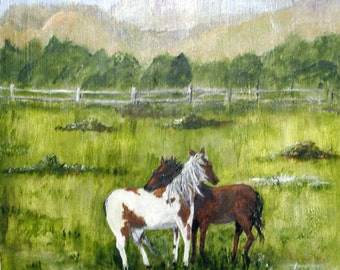 Original wildlife, acrylic painting, Horses in a Storm, art on plywood, equestrian, art for sale